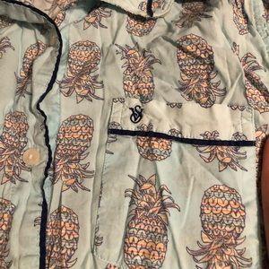 Victoria Secret Pajama Button Up Pineapple Sz XS